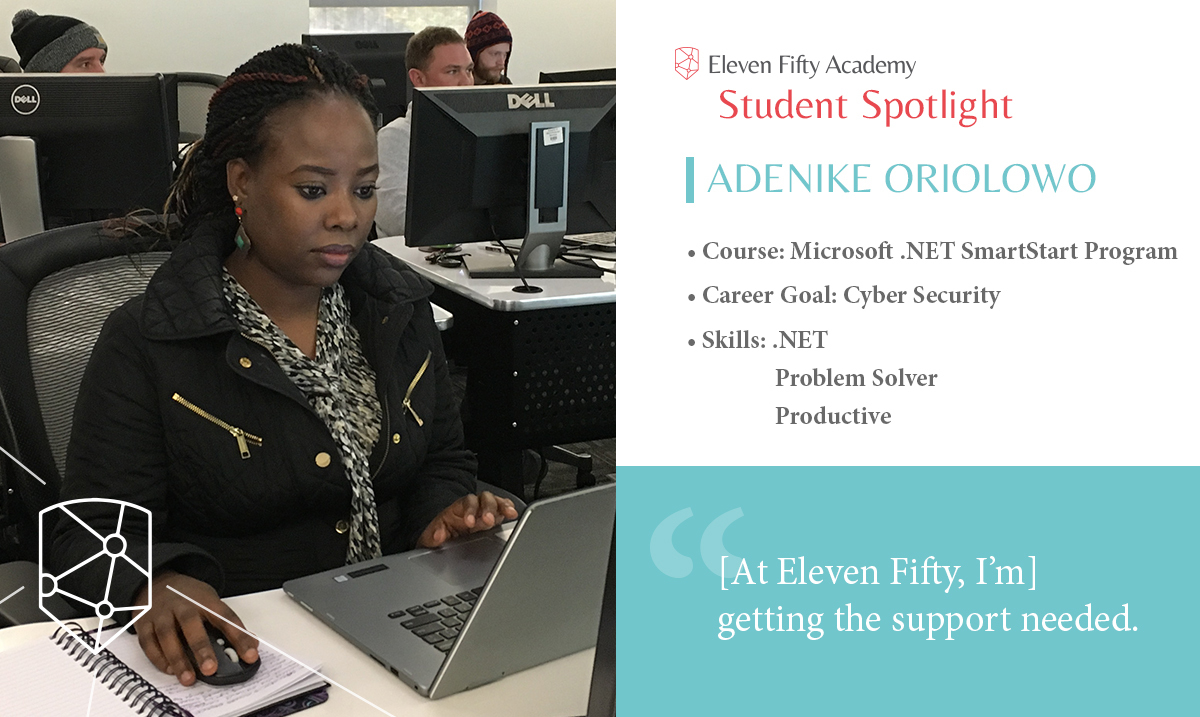 Adenike is learning new coding skills at Eleven Fifty Academy.